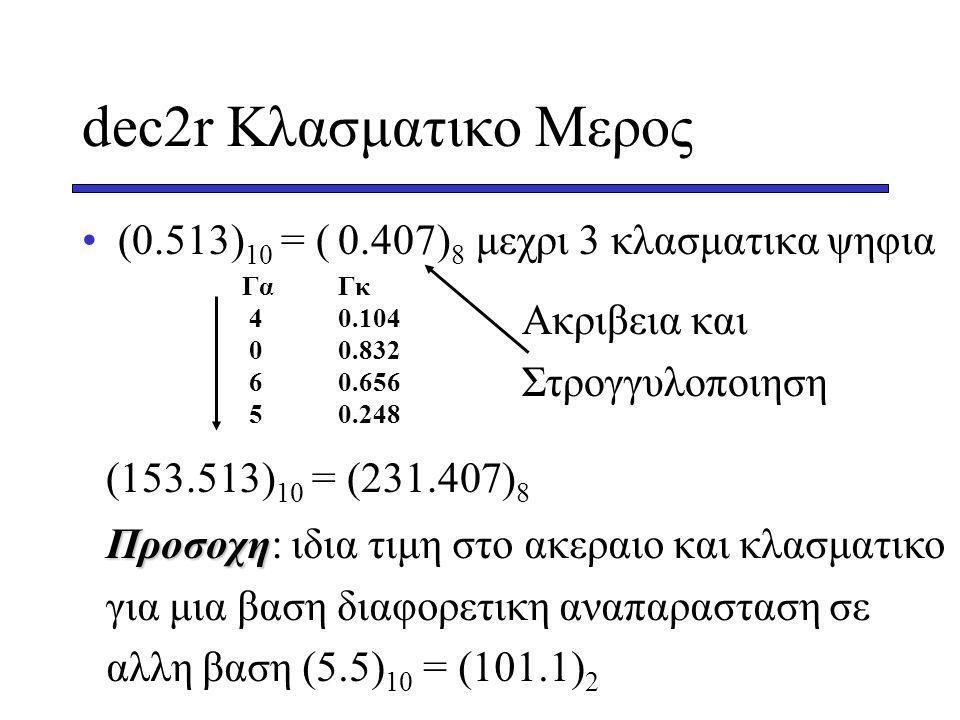 dec2r Κλασματικο Μερος (0.513)10 = ( )8 μεχρι 3 κλασματικα ψηφια 0.407