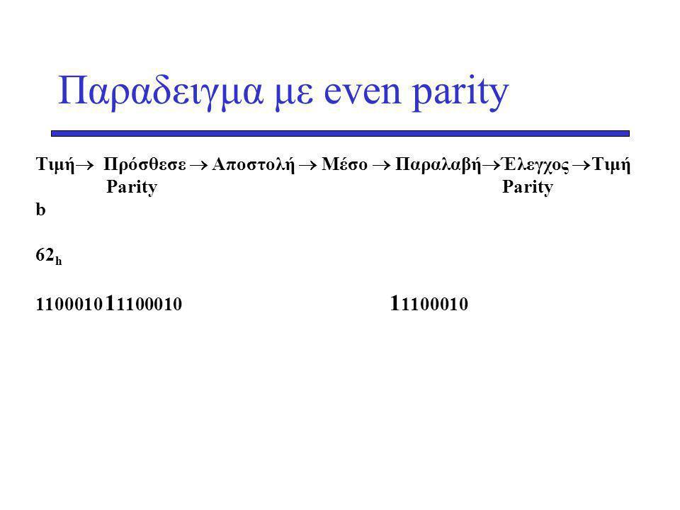 Παραδειγμα με even parity