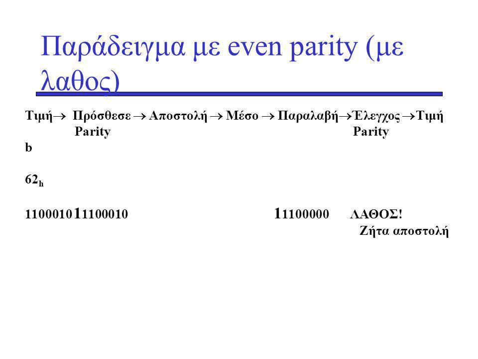 Παράδειγμα με even parity (με λαθος)