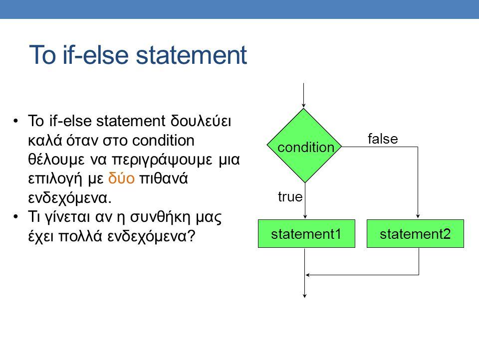 Το if-else statement Το if-else statement δουλεύει καλά όταν στο condition θέλουμε να περιγράψουμε μια επιλογή με δύο πιθανά ενδεχόμενα.