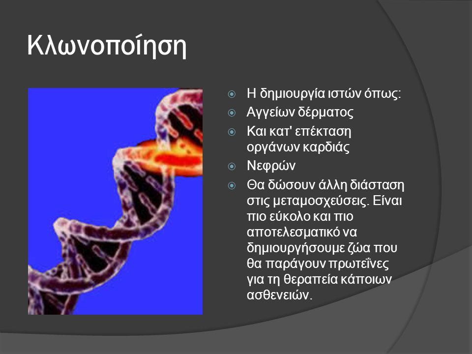 Κλωνοποίηση Η δημιουργία ιστών όπως: Αγγείων δέρματος
