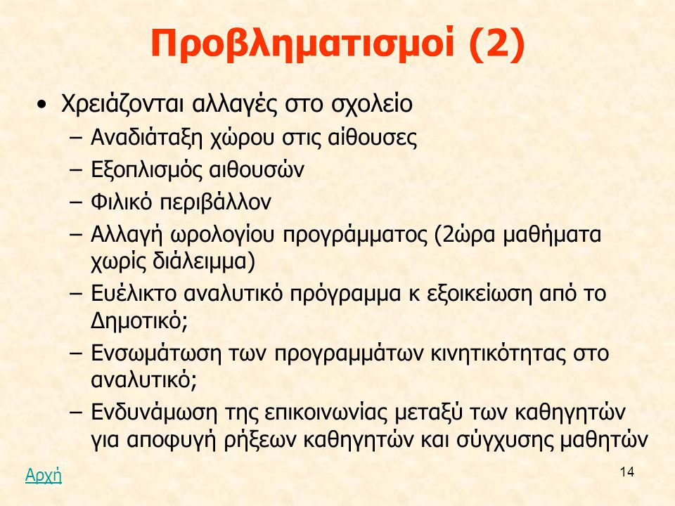 Προβληματισμοί (2) Χρειάζονται αλλαγές στο σχολείο