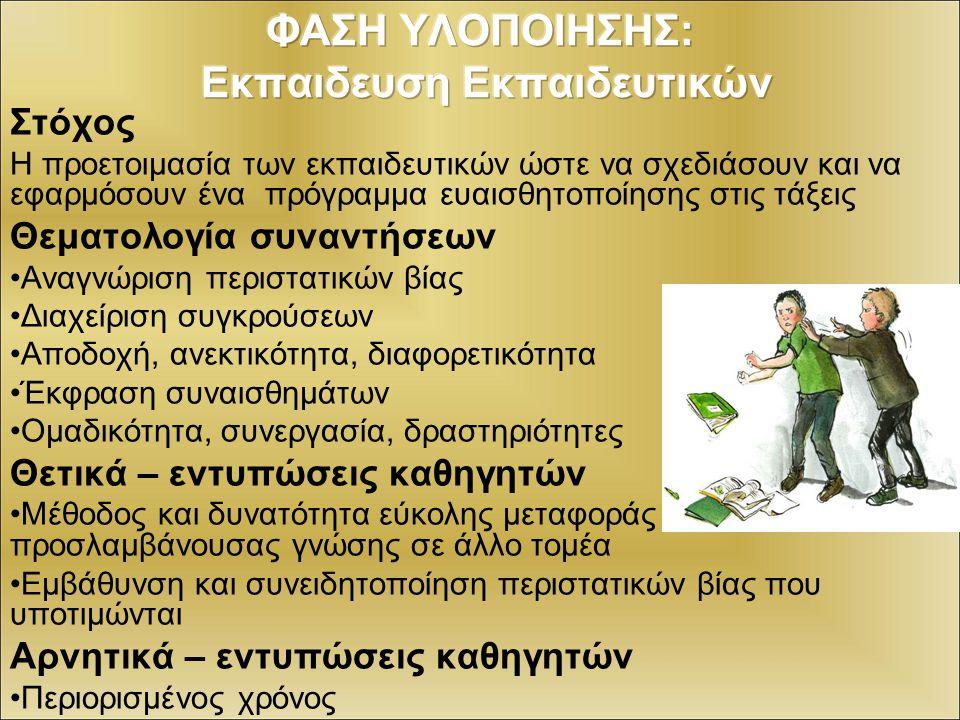 ΦΑΣΗ ΥΛΟΠΟΙΗΣΗΣ: Εκπαιδευση Εκπαιδευτικών