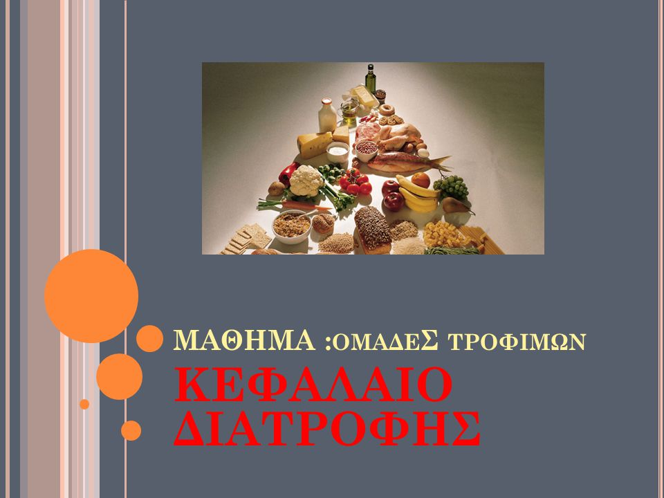 ΜΑΘΗΜΑ :ομαδεΣ τροφιμων