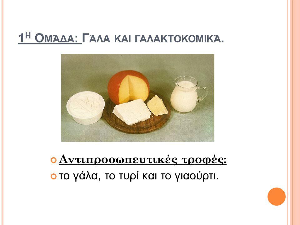 1η Ομάδα: Γάλα και γαλακτοκομικά.