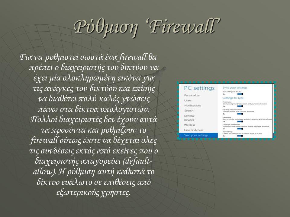 Ρύθμιση 'Firewall'