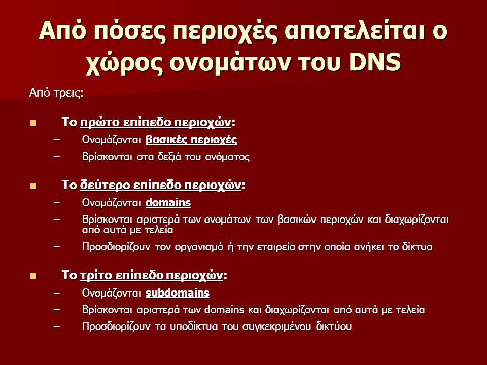 Από πόσες περιοχές αποτελείται ο χώρος ονομάτων του DNS