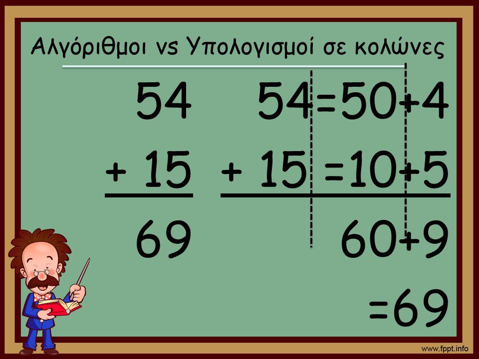 Αλγόριθμοι vs Υπολογισμοί σε κολώνες