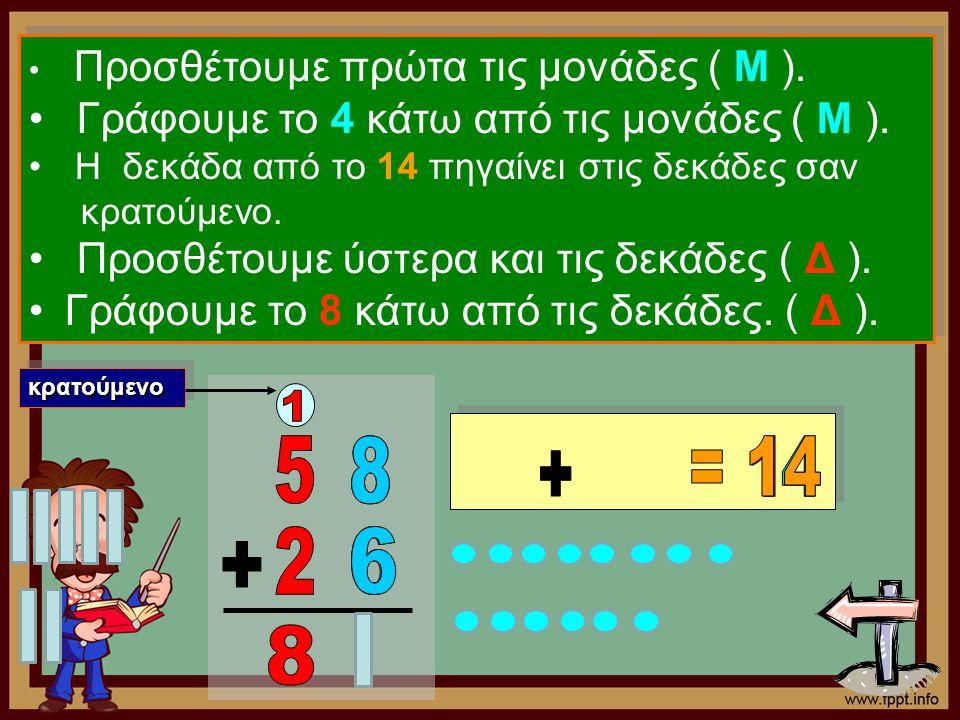 1 5 8 8 = 14 1 4 + 2 6 6 + 8 Γράφουμε το 4 κάτω από τις μονάδες ( Μ ).