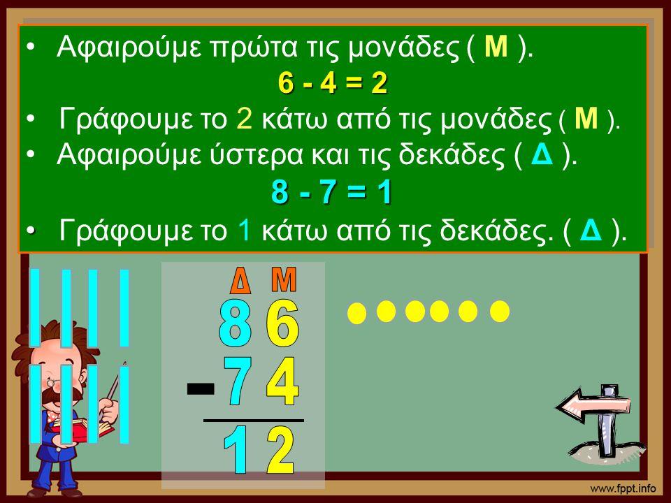 8 - 7 = 1 Δ Μ 8 6 7 4 - 1 2 Αφαιρούμε πρώτα τις μονάδες ( Μ ).