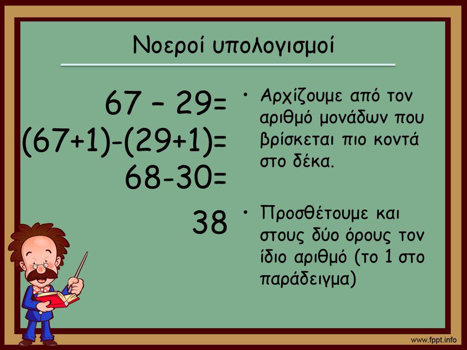 67 – 29= (67+1)-(29+1)= 68-30= 38 Νοεροί υπολογισμοί