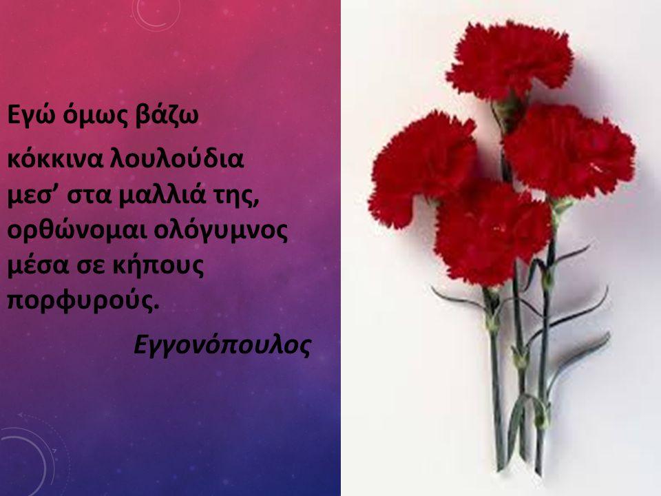 Εγώ όμως βάζω κόκκινα λουλούδια μεσ' στα μαλλιά της, ορθώνομαι ολόγυμνος μέσα σε κήπους πορφυρούς.