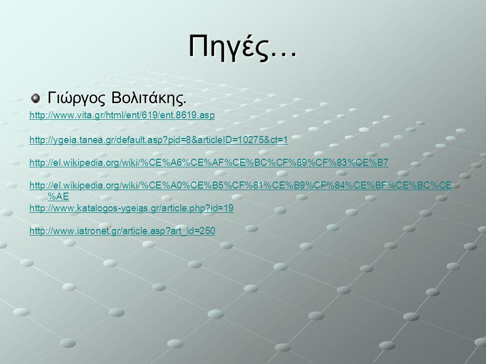 Πηγές… Γιώργος Βολιτάκης. http://www.vita.gr/html/ent/619/ent.8619.asp