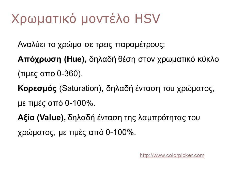 Χρωματικό μοντέλο HSV Αναλύει το χρώμα σε τρεις παραμέτρους: