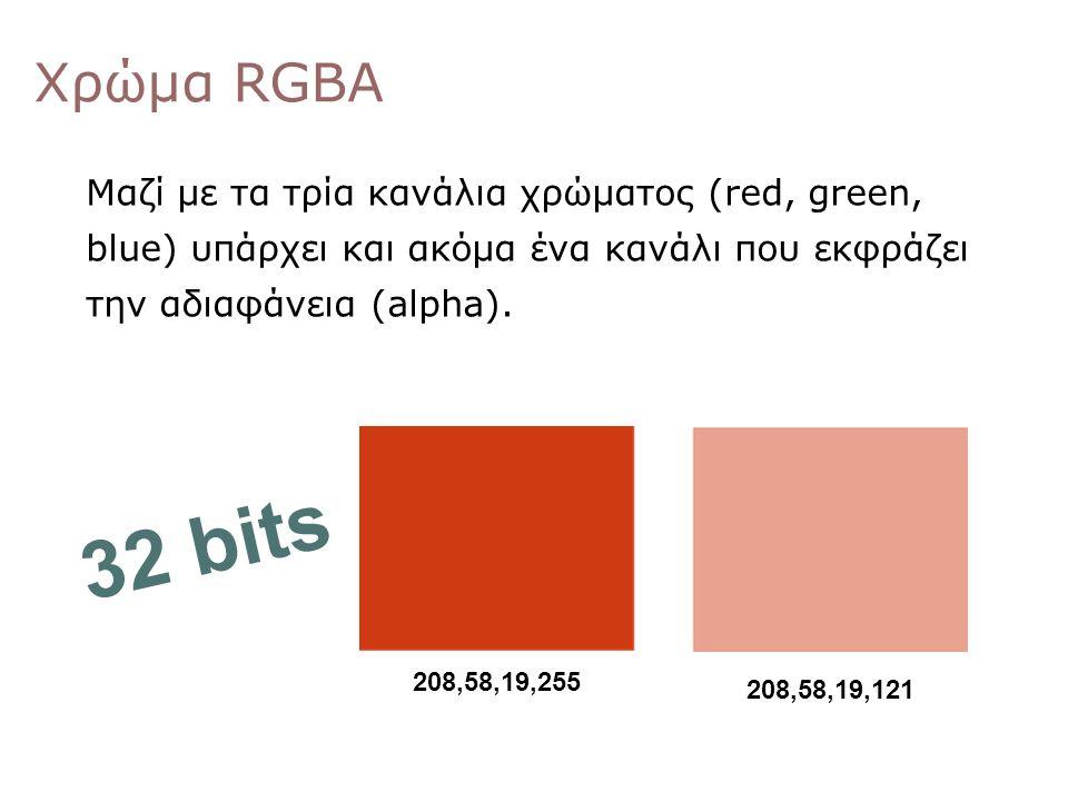 Χρώμα RGBΑ Μαζί με τα τρία κανάλια χρώματος (red, green, blue) υπάρχει και ακόμα ένα κανάλι που εκφράζει την αδιαφάνεια (alpha).