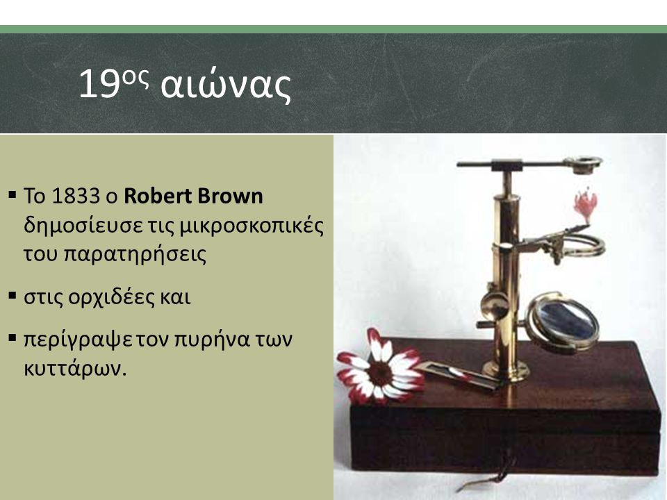 19ος αιώνας Το 1833 ο Robert Brown δημοσίευσε τις μικροσκοπικές του παρατηρήσεις. στις ορχιδέες και.