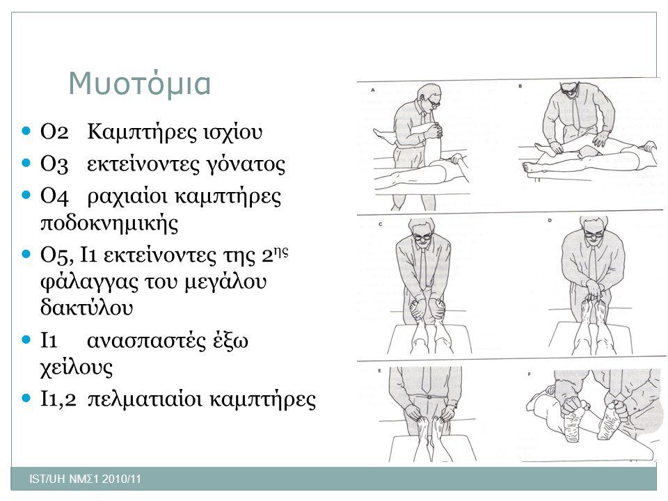 Μυοτόμια Ο2 Καμπτήρες ισχίου Ο3 εκτείνοντες γόνατος