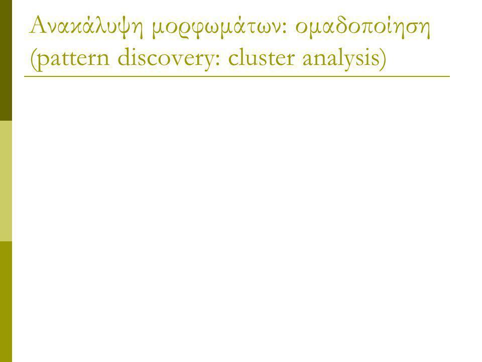 Ανακάλυψη μορφωμάτων: ομαδοποίηση (pattern discovery: cluster analysis)
