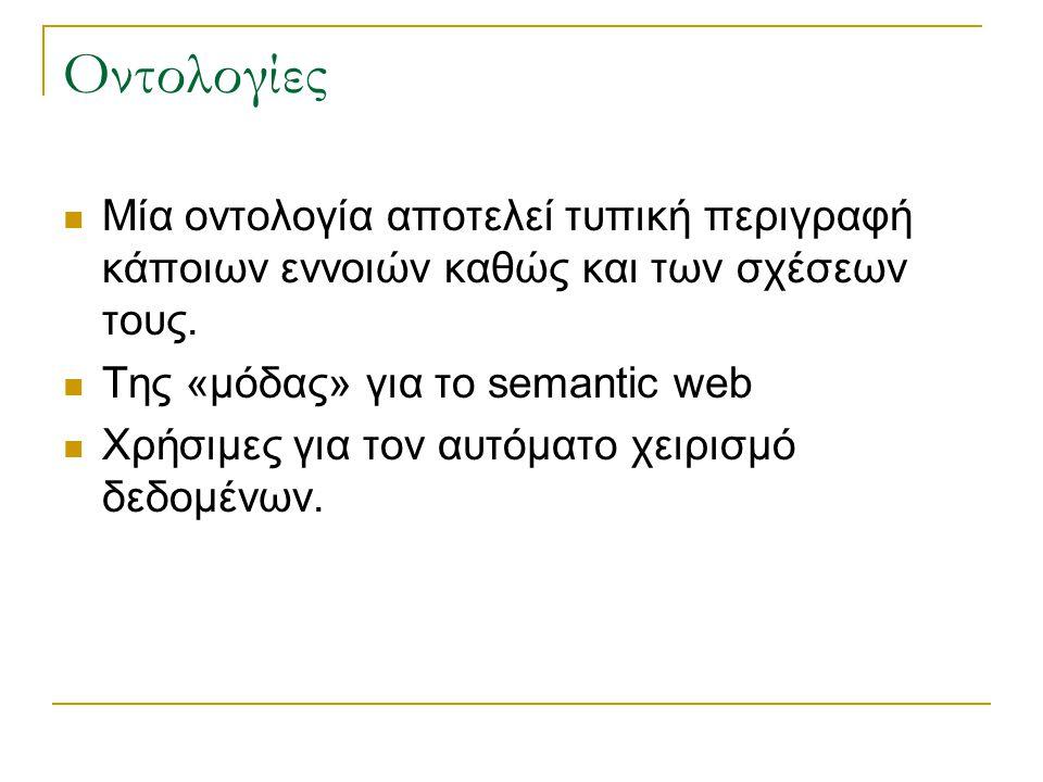 Οντολογίες Μία οντολογία αποτελεί τυπική περιγραφή κάποιων εννοιών καθώς και των σχέσεων τους. Της «μόδας» για το semantic web.