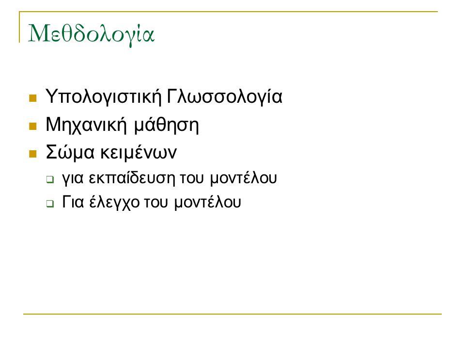 Μεθδολογία Υπολογιστική Γλωσσολογία Μηχανική μάθηση Σώμα κειμένων