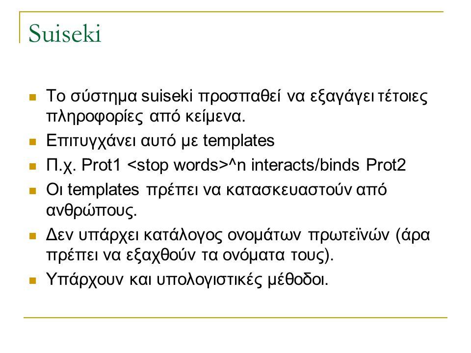 Suiseki Το σύστημα suiseki προσπαθεί να εξαγάγει τέτοιες πληροφορίες από κείμενα. Επιτυγχάνει αυτό με templates.