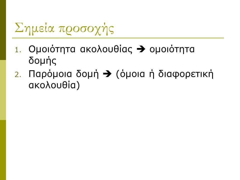 Σημεία προσοχής Ομοιότητα ακολουθίας  ομοιότητα δομής