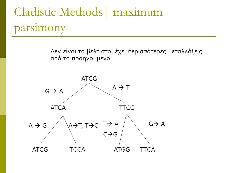 Cladistic Methods| maximum parsimony