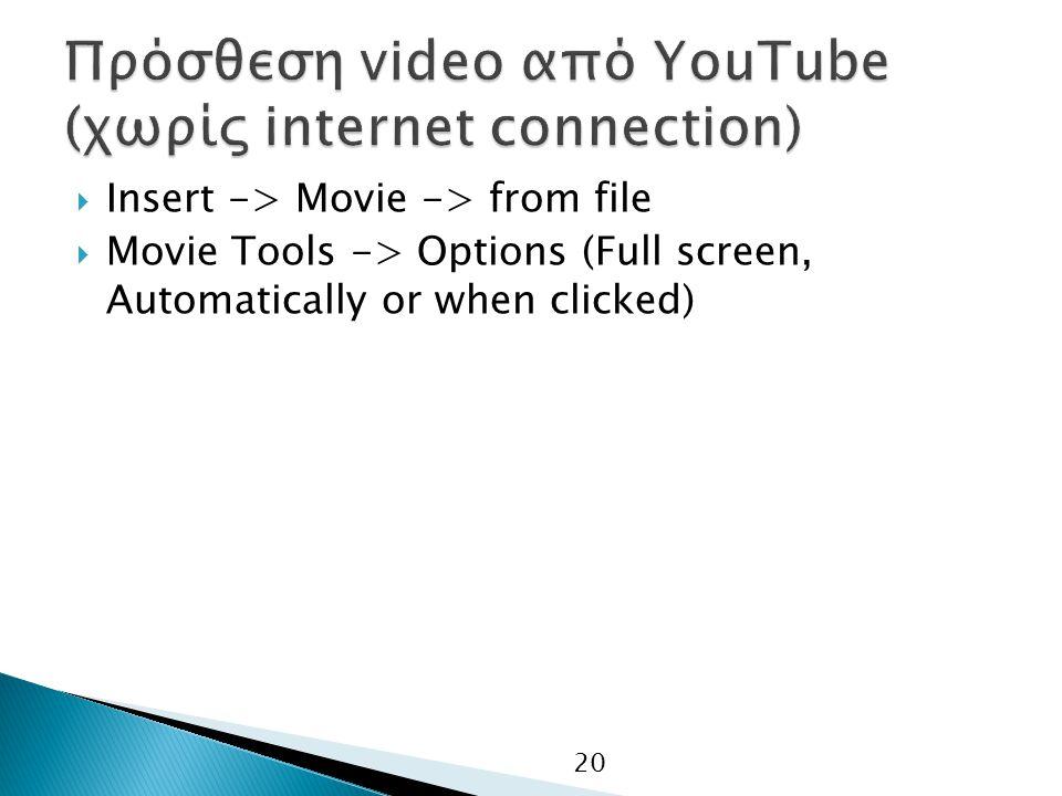 Πρόσθεση video από YouTube (χωρίς internet connection)