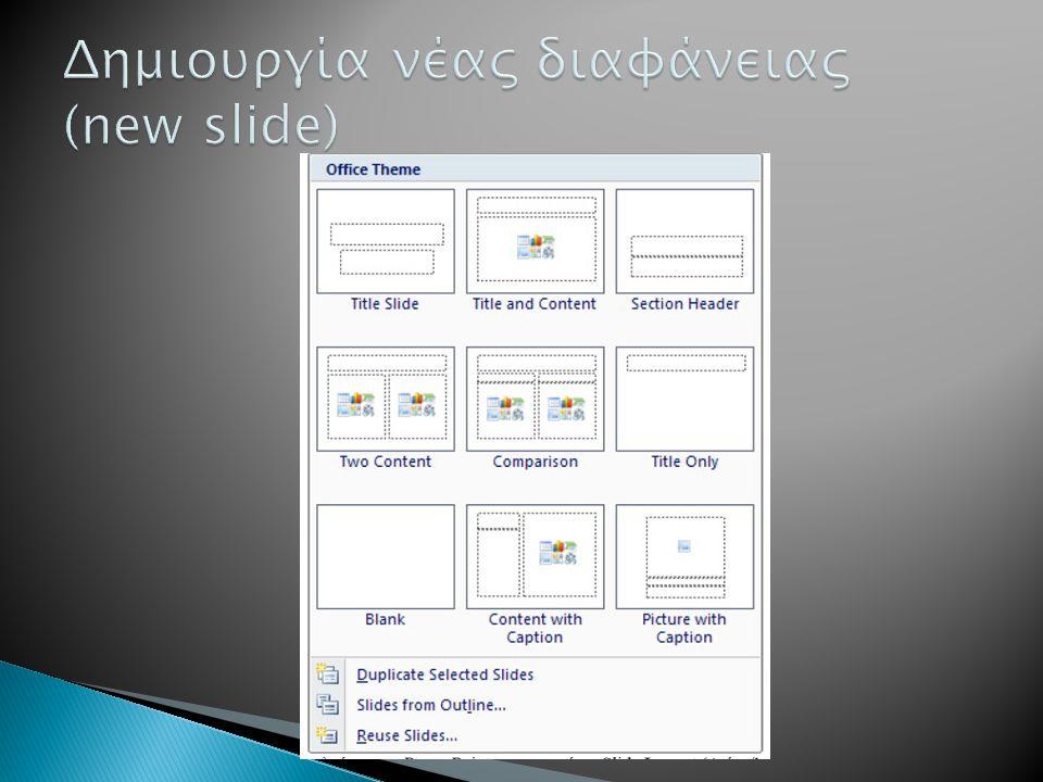 Δημιουργία νέας διαφάνειας (new slide)