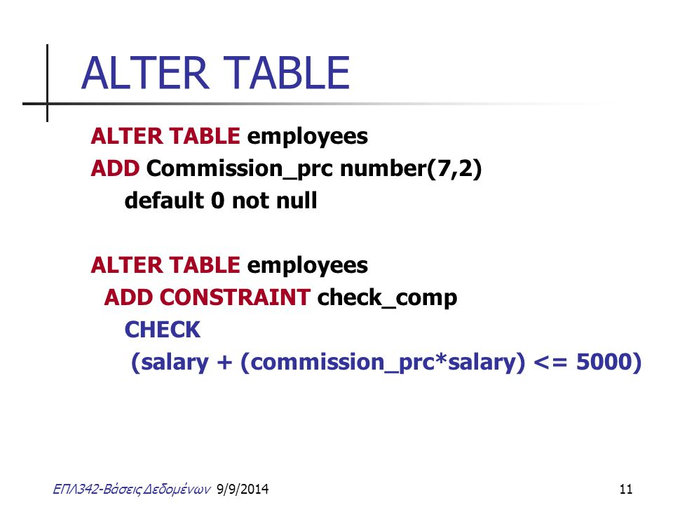 ALTER TABLE ALTER TABLE employees ADD Commission_prc number(7,2)