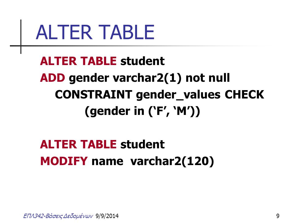ALTER TABLE ALTER TABLE student ADD gender varchar2(1) not null