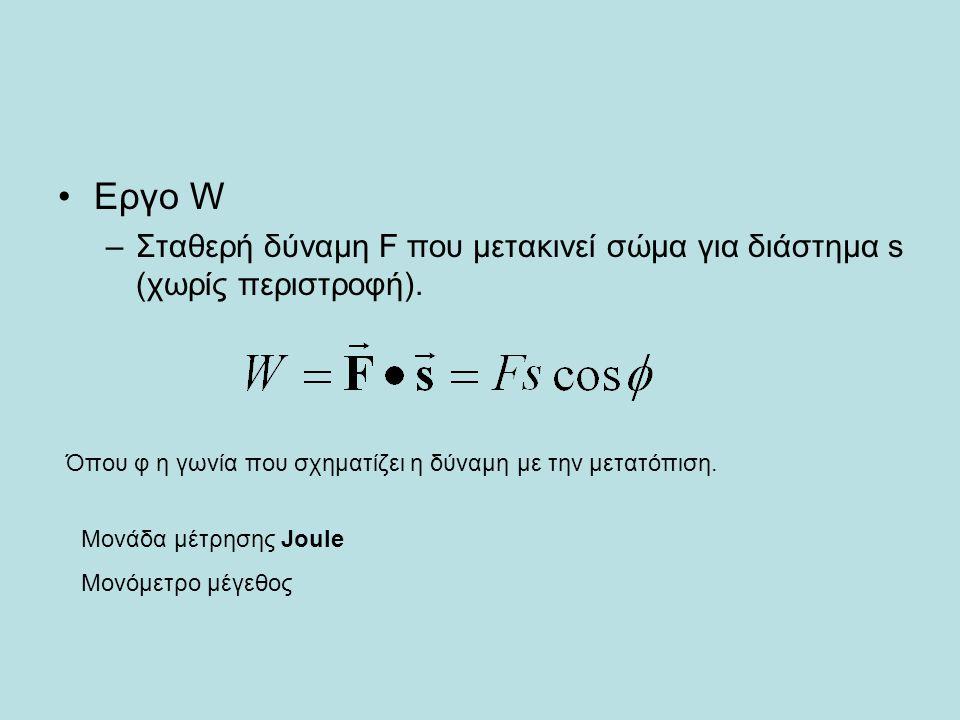 Εργο W Σταθερή δύναμη F που μετακινεί σώμα για διάστημα s (χωρίς περιστροφή). Όπου φ η γωνία που σχηματίζει η δύναμη με την μετατόπιση.