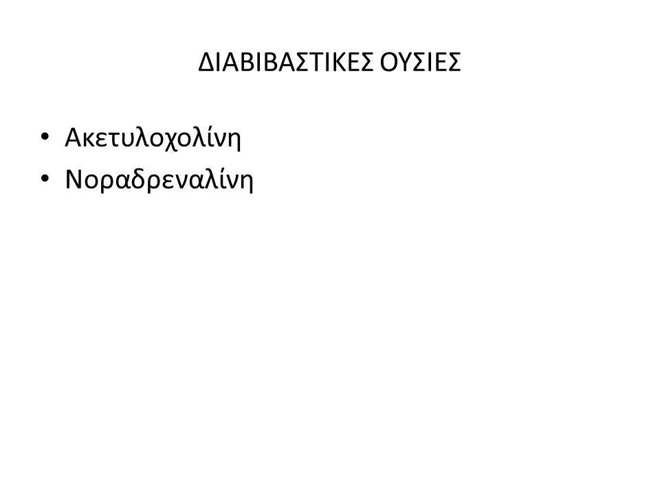 ΔΙΑΒΙΒΑΣΤΙΚΕΣ ΟΥΣΙΕΣ Ακετυλοχολίνη Νοραδρεναλίνη