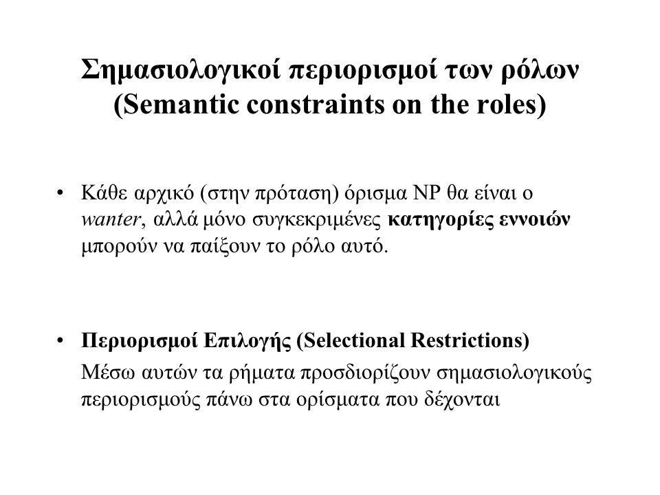 Σημασιολογικοί περιορισμοί των ρόλων (Semantic constraints on the roles)