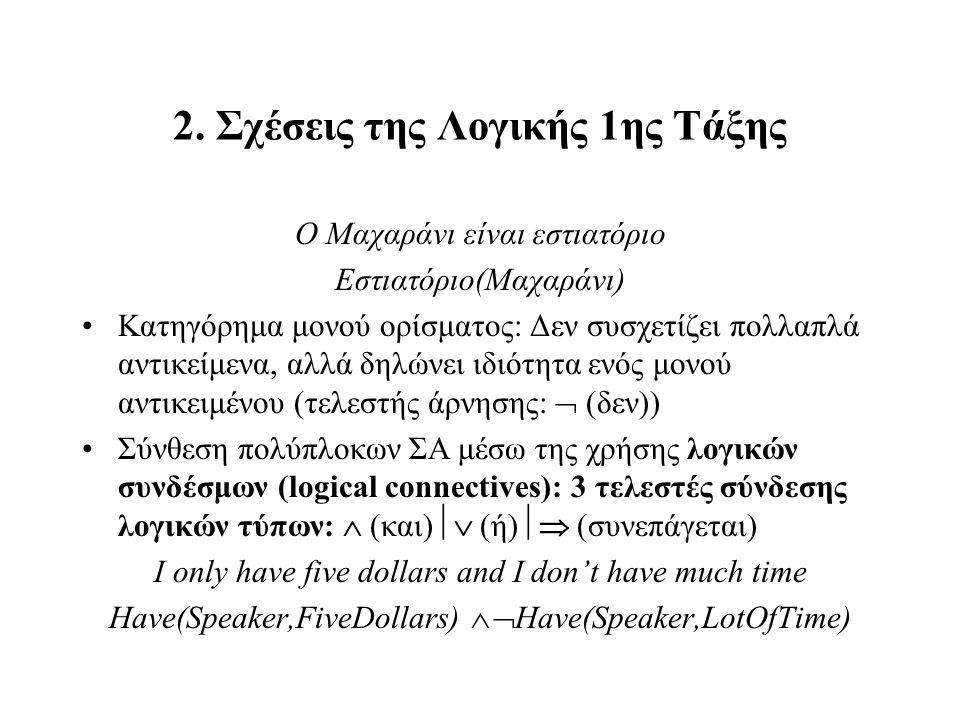 2. Σχέσεις της Λογικής 1ης Τάξης