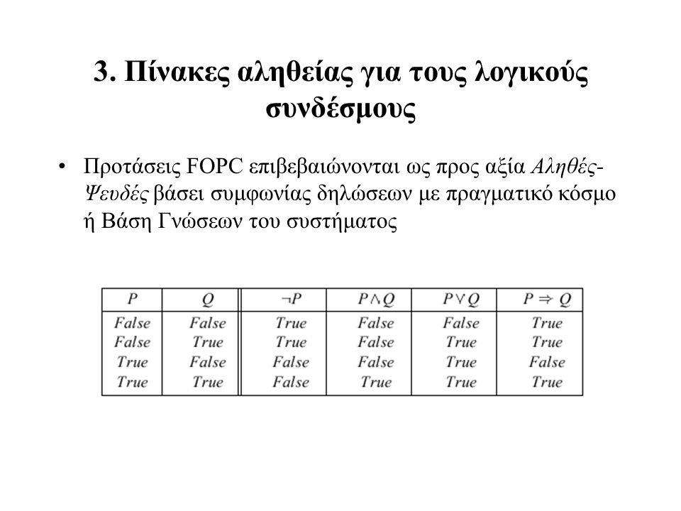 3. Πίνακες αληθείας για τους λογικούς συνδέσμους