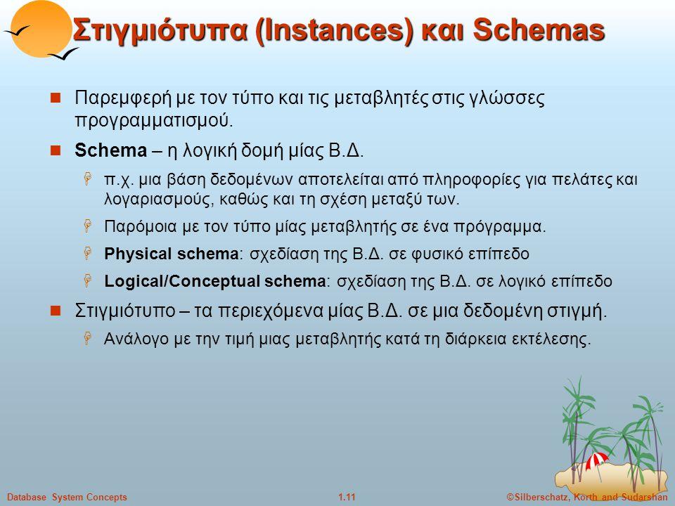 Στιγμιότυπα (Instances) και Schemas