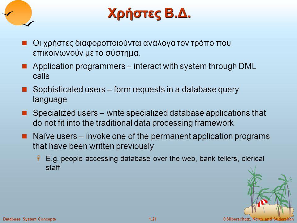 Χρήστες Β.Δ. Οι χρήστες διαφοροποιούνται ανάλογα τον τρόπο που επικοινωνούν με το σύστημα.