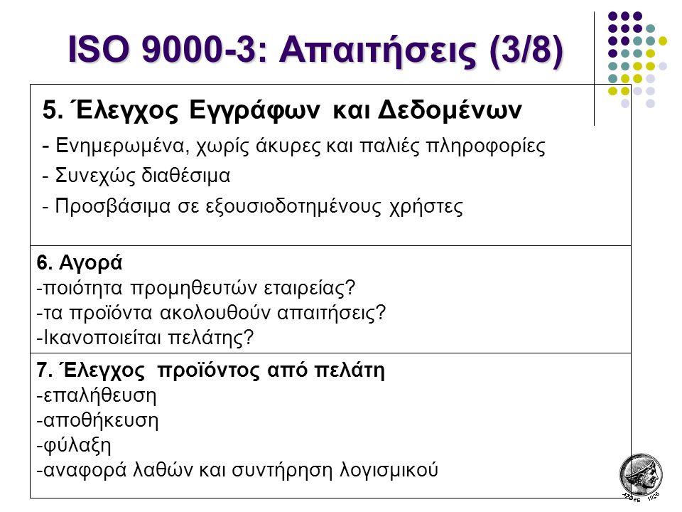 ISO 9000-3: Απαιτήσεις (3/8) 5. Έλεγχος Εγγράφων και Δεδομένων