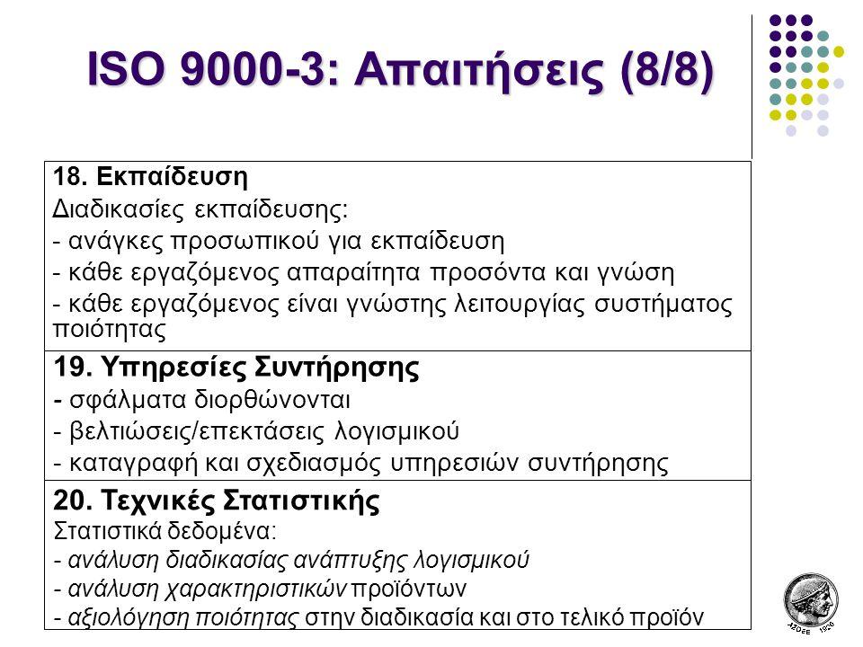 ISO 9000-3: Απαιτήσεις (8/8) 19. Υπηρεσίες Συντήρησης