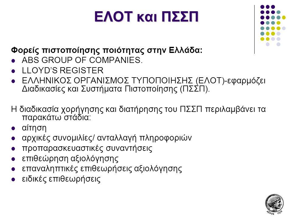 ΕΛΟΤ και ΠΣΣΠ Φορείς πιστοποίησης ποιότητας στην Ελλάδα: