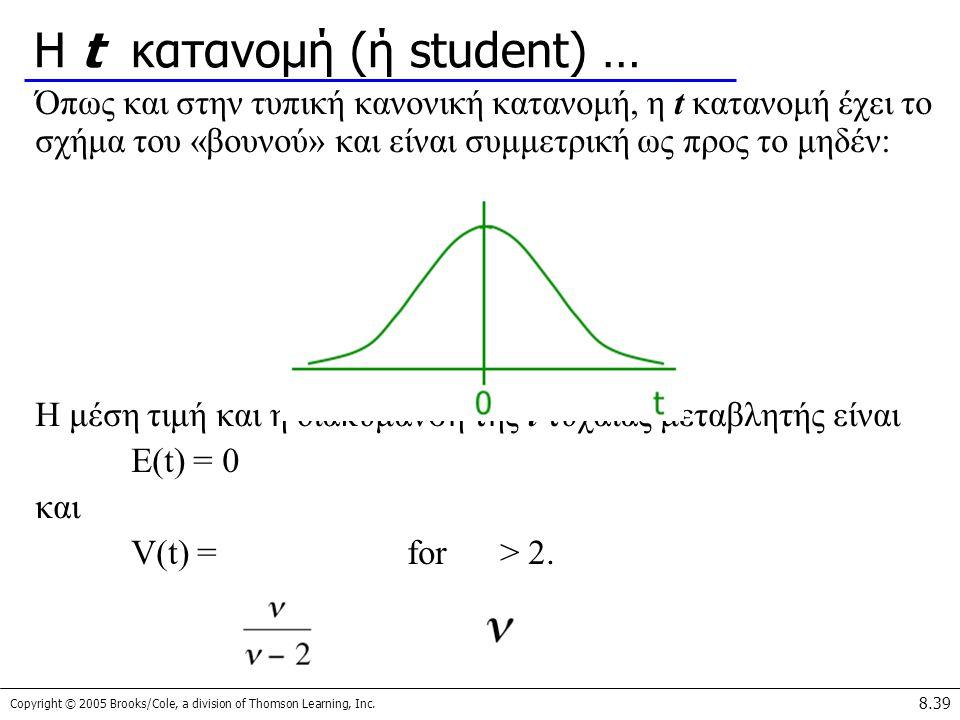 Η t κατανομή (ή student) …