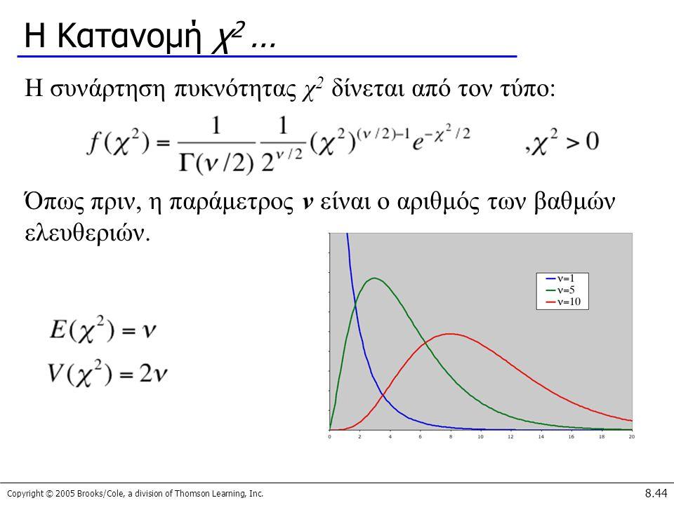 Η Κατανομή χ2 … Η συνάρτηση πυκνότητας χ2 δίνεται από τον τύπο:
