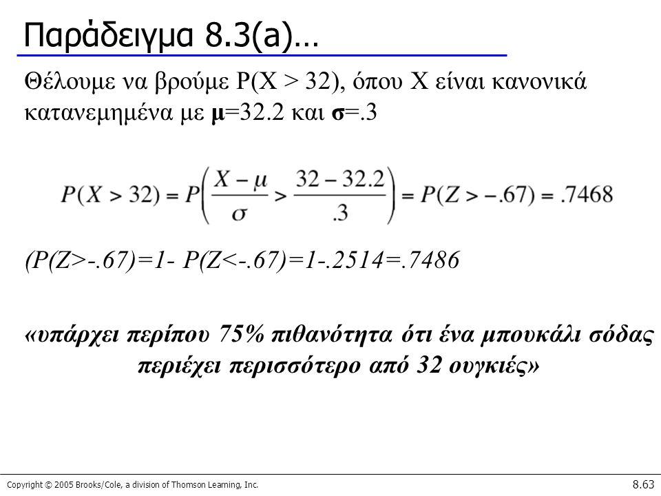 Παράδειγμα 8.3(a)… Θέλουμε να βρούμε P(X > 32), όπου X είναι κανονικά κατανεμημένα με μ=32.2 και σ=.3.
