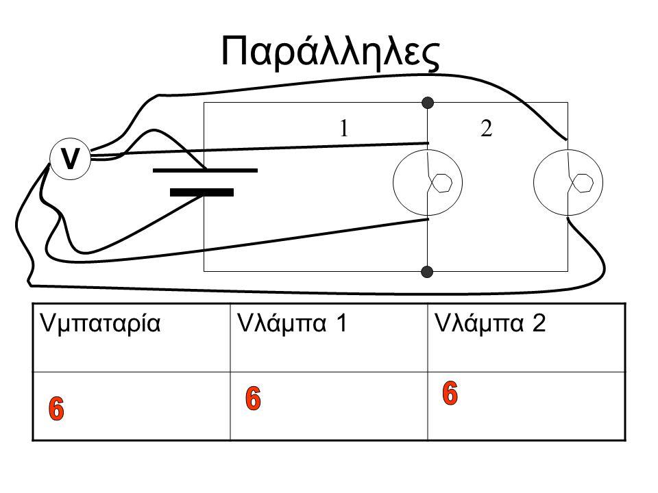 Παράλληλες 1 2 V Vμπαταρία Vλάμπα 1 Vλάμπα 2 6 6 6