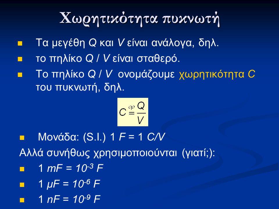Χωρητικότητα πυκνωτή Tα μεγέθη Q και V είναι ανάλογα, δηλ.