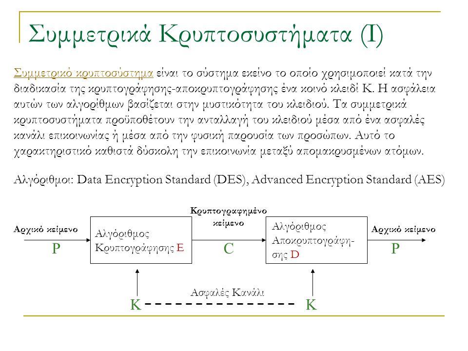 Συμμετρικά Κρυπτοσυστήματα (Ι)