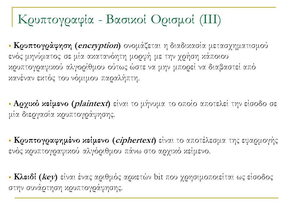 Κρυπτογραφία - Βασικοί Ορισμοί (ΙΙΙ)