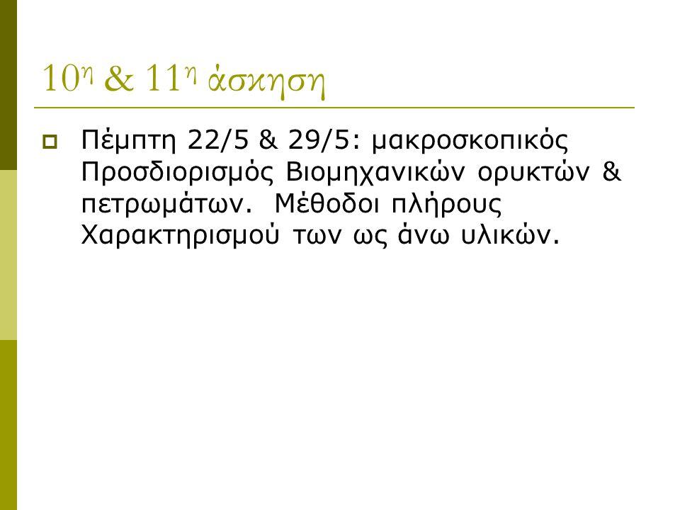 10η & 11η άσκηση Πέμπτη 22/5 & 29/5: μακροσκοπικός Προσδιορισμός Βιομηχανικών ορυκτών & πετρωμάτων.