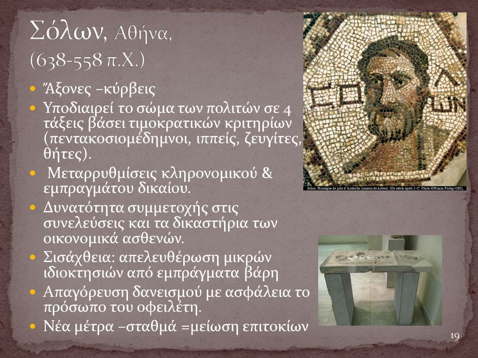 Σόλων, Αθήνα, (638-558 π.Χ.) Ἄξονες –κύρβεις